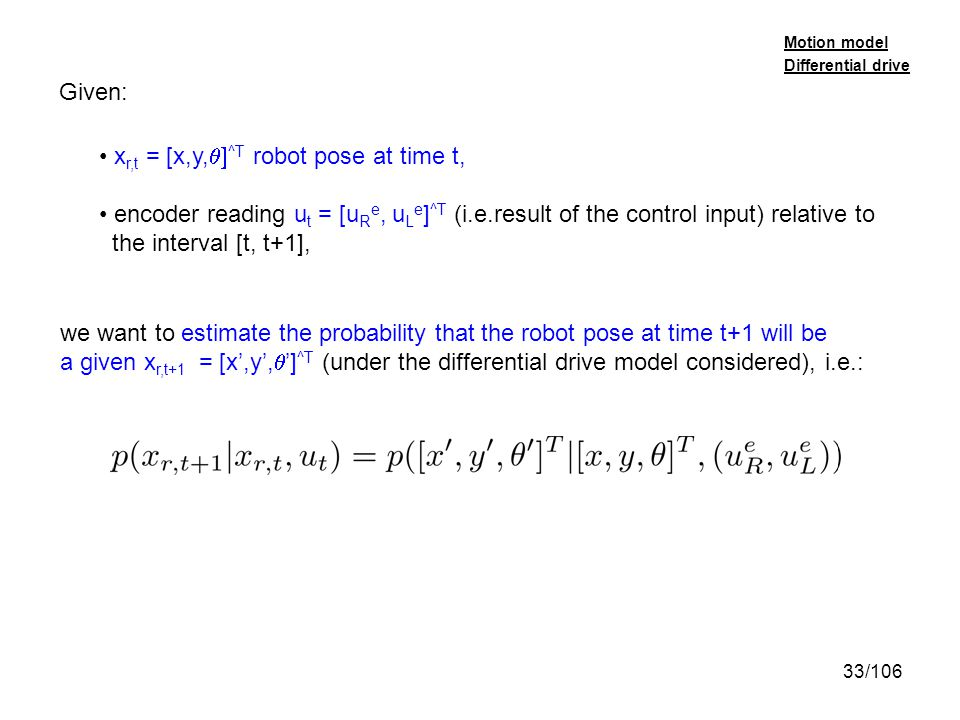 xr,t = [x,y,q]^T robot pose at time t,